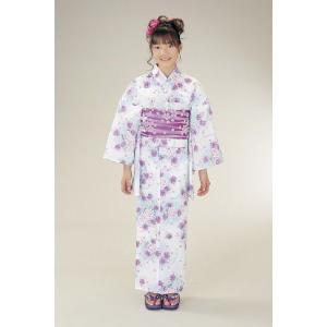 浴衣 ジュニアサイズ リョウコキクチブランドゆかた6点セット 白水色 浴衣に結び帯、下駄、縫い付け済み腰紐までついたセットです 130cm|doresukimono-kyoubi
