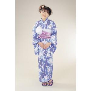浴衣 ジュニアサイズ リョウコキクチブランドゆかた6点セット ブルー 浴衣に結び帯、下駄、縫い付け済み腰紐までついたセットです 130cm