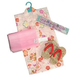 浴衣 女の子 キッズサイズ かわいいなブランドゆかた3点セット ベージュ 麻の葉柄 綿紅梅生地 100cm 110cm 120cm 130cm|doresukimono-kyoubi