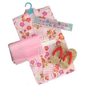 浴衣 女の子 キッズサイズ かわいいなブランドゆかた3点セット ピンク 麻の葉柄 綿紅梅生地 100cm 110cm 120cm 130cm|doresukimono-kyoubi