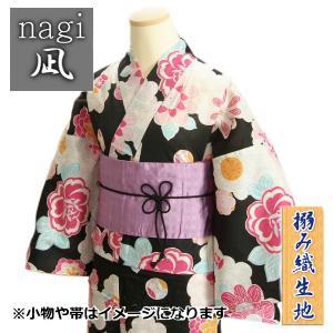 浴衣 ゆかた 凪ブランド 黒色 雲取りに芍薬柄 ゆかたにピッタリな搦み織生地使用 綿100%|doresukimono-kyoubi