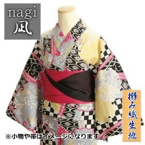 浴衣 ゆかた 凪ブランド クリーム色 雪輪有職柄 ゆかたにピッタリな搦み織生地使用 綿100%|doresukimono-kyoubi