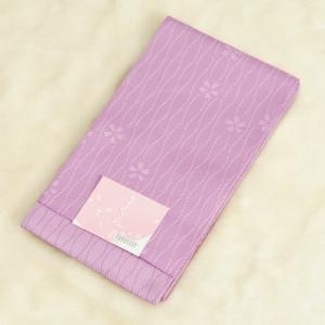 浴衣帯 ラベンダー色 柄タイプ 立涌桜柄 袴下帯 単(ひとえ)帯 日本製|doresukimono-kyoubi