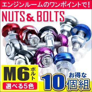 ナンバー プレート ボルト エンジンルーム ワッシャー カラーボルト 10個セット 5色選択 M6 バイク パーツ フロントカウル USDM 【福袋】