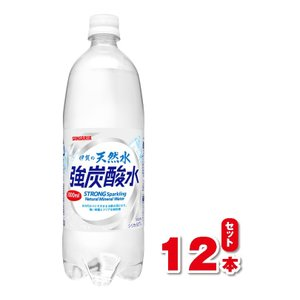 サンガリア 伊賀の天然水 強炭酸水  1L 1000ml 12本入り ケース |dorinkuya2