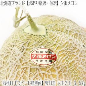 夕張メロン メロン (訳あり 航空便)大玉2玉 計3.5kg(夕張 農協検査品)