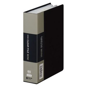 キングジム クリアーファイル・ミニ A6タテ型 60ポケット ハガキ 120枚 収納(黒)|dotkae-ru