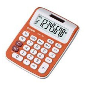 カシオ カラフル電卓 8桁 ミニジャストタイプ(フレッシュオレンジ)|dotkae-ru