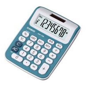 カシオ カラフル電卓 8桁 ミニジャストタイプ(レイクブルー)|dotkae-ru
