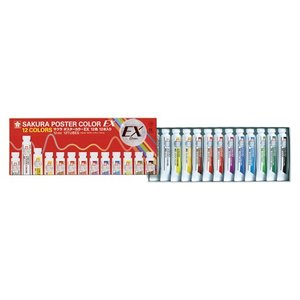 サクラクレパス ポスターカラーEX 規格:12色(13本)|どっとカエール
