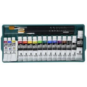 ターナー ポスターカラー 3原色(水彩)+プライムセット(13B) 7mlX3、11mlX12色+白20mlX1、デザイン筆3本