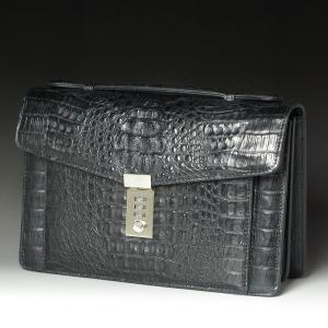 cae08959847e セカンドバッグ 本革 カイマンクロコダイル メンズバッグ ハンドバッグ ブラック カイマン 黒 送料無料