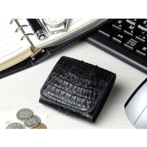 d2e5c4ace8de 小銭入れ 本革 カイマンクロコダイル コインケース ブラック 黒