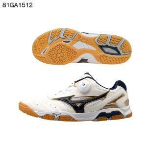 ミズノ(MIZUNO) ウエーブメダル SP3 81GA1512 14:ホワイト×ネイビー×ゴールド 卓球シューズ|double-knot
