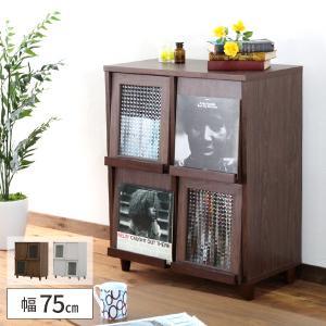 1年保証75幅 4マス 正方形 ディスプレイラック レコードラック クロスガラス CD BD DVD 本 ブック 漫画 雑貨 文庫 double-oo