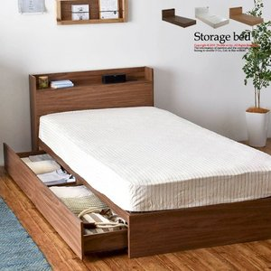 シングルベッド おしゃれ ベッド 木製 北欧 収納付き 宮付き 木製ベッド ベッドフレーム シングル...