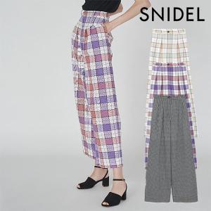 スナイデル SNIDEL 通販 3月中旬予約 オリジナルチェックワイドパンツ レディース パンツ ワイドパンツ フルレングス ハイウエスト チェック ゆったり|doubleheart