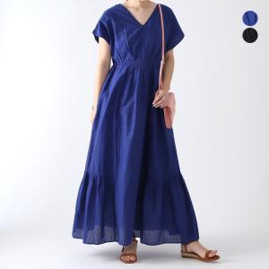 【21SSコレクション】ne Quittez pas〔ヌキテパ〕010511GD4Cotton Rayon Dobby V Neck Dress/コットンレーヨンドビーVネックドレス|douceharmonie-ndc