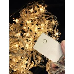 クリスマスイルミネーション LED100球/さくら花/黄金色/点灯パターンあり/コード透明 訳あり/わけあり特価!|dougumanzoku