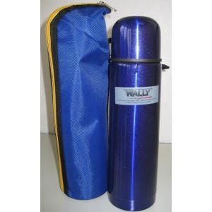 【在庫限り】ステンレスボトル水筒 ウォーリー 500ml スリム(青)新学期に!ケース付き|dougumanzoku