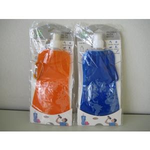 【暑さ対策】【夏祭りに】ママ必見!愛犬のお散歩に 軽量さが人気 冷凍OK/コンパクトウォーターボトル飲み終わったらくるくる収納1個 (ブルー/オレンジ)|dougumanzoku