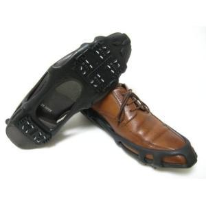雪の日に 靴用スパイク(黒色)Lサイズ(27.0〜29.0cmの靴に)都会の急な雪凍結に!収納袋つき、靴にはめるタイプ ビジネス、受験生さん向き|dougumanzoku