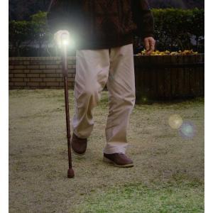 地震などの災害時 避難も安心 手巻き発電式ライト付きステッキ愛棒(杖)男性に人気(木目柄)|dougumanzoku
