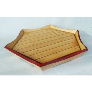 盛器 木製 亀甲六角 渕朱 料理盛器 尺7寸 52cm 下司付 アウトレット|douguya-net