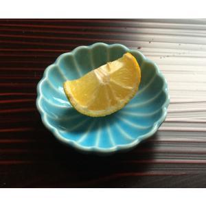 菊花 豆皿 トルコブルー アウトレット 花型|douguya-net