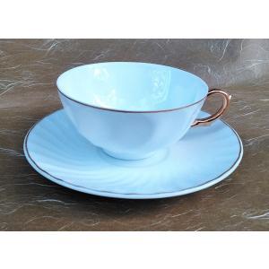 ティー 碗皿 白磁 ねじり 渕金 紅茶 コーヒー カップ ソーサー アウトレット|douguya-net