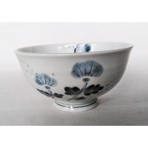 有田焼 軽々丼 アザミ 古染付 手造り 16.5cm 飯碗 茶漬 ご飯茶碗 青 douguya-net