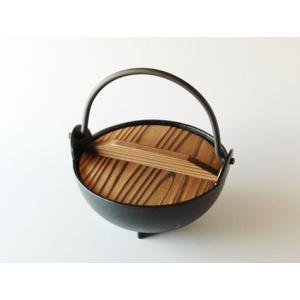 黒アルミ1人用いろり鍋15cmツル付(木蓋付)(寄せ鍋)|douguya-net