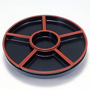 回転 オードブル皿 尺5寸 黒天朱 48cm パーティー皿|douguya-net