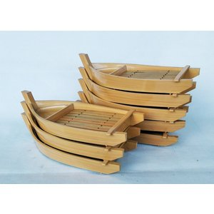 漆器 1人舟白木木目竹下司付 8客 刺身、そば、寿司盛合せに アウトレット|douguya-net