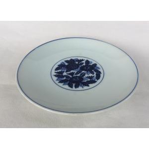 有田焼 中皿 染付 牡丹花絵 丸紋 8寸皿 25cm 和皿|douguya-net