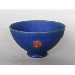 有田焼 ヘルシー丼 ご飯茶碗 特大 手造り トルコブルー丸紋 飯碗 茶漬 めん鉢 douguya-net