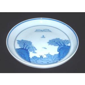 有田焼 中皿 染付山水 6寸 深皿 和皿|douguya-net