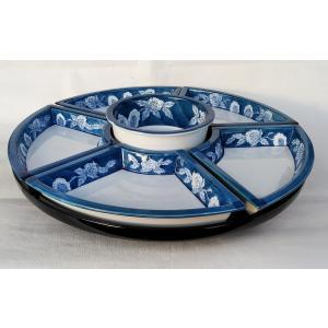 回転オードブル皿 有田焼 染付柘榴大皿(45cm) パーティー皿 アウトレット|douguya-net