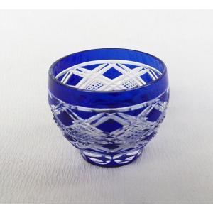藍切子ぐいのみ 江戸切子グラス/ガラス/小付/珍味 アウトレット|douguya-net