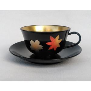 コーヒー ティー 碗皿 漆器 春秋蒔絵 内金 紅茶 コーヒー カップ ソーサー|douguya-net