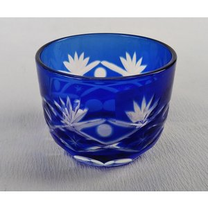 藍 切子 ぐいのみ 筒型 江戸切子グラス ガラス 小付 珍味 アウトレット|douguya-net