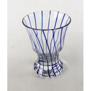 藍十草 ぐい飲み 盃 杵型 ガラス 小付 アウトレット|douguya-net