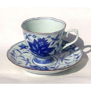 有田焼 コーヒー 碗皿 染付兜唐草 コーヒー カップ ソーサー|douguya-net
