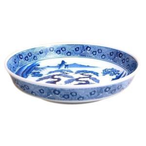 有田焼 染付 山水 ドラ鉢 山徳窯 盛鉢 尺2寸 12号(36cm)鉦鉢 盛皿|douguya-net