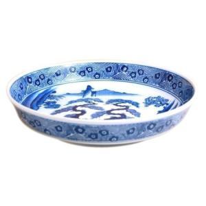 有田焼 染付 山水 ドラ鉢 山徳窯 盛鉢 尺3寸 13号(39cm)鉦鉢 盛皿|douguya-net