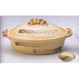 萬古焼12号白刷毛楕円鍋 土鍋|douguya-net