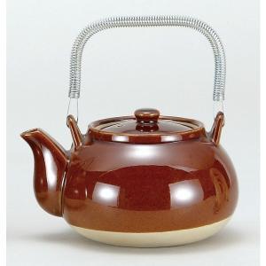アメ釉栗型薬土瓶 8号(煎じ土瓶)(1400cc) 直火OK|douguya-net