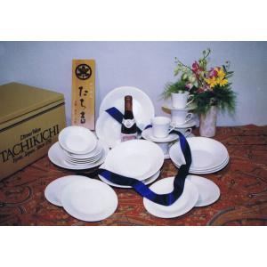 たち吉 ホワイト ディナーセット 27ピース 洋食器揃 コーヒー・ケーキ皿・フルーツ皿・スープ皿・サラダボール・オードブル皿|douguya-net