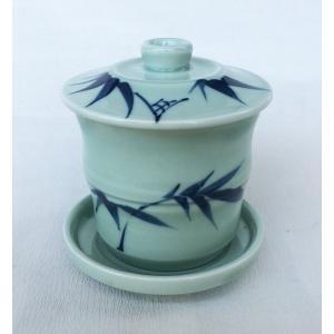 有田焼 むし碗 青磁 竹絵竹型 茶碗蒸し 台皿付|douguya-net