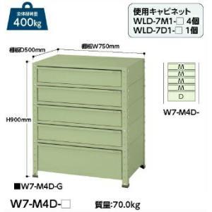 【ポイント5倍】 【代引不可】 山金工業 ヤマテック ワゴン W7-M4D-G 【メーカー直送品】